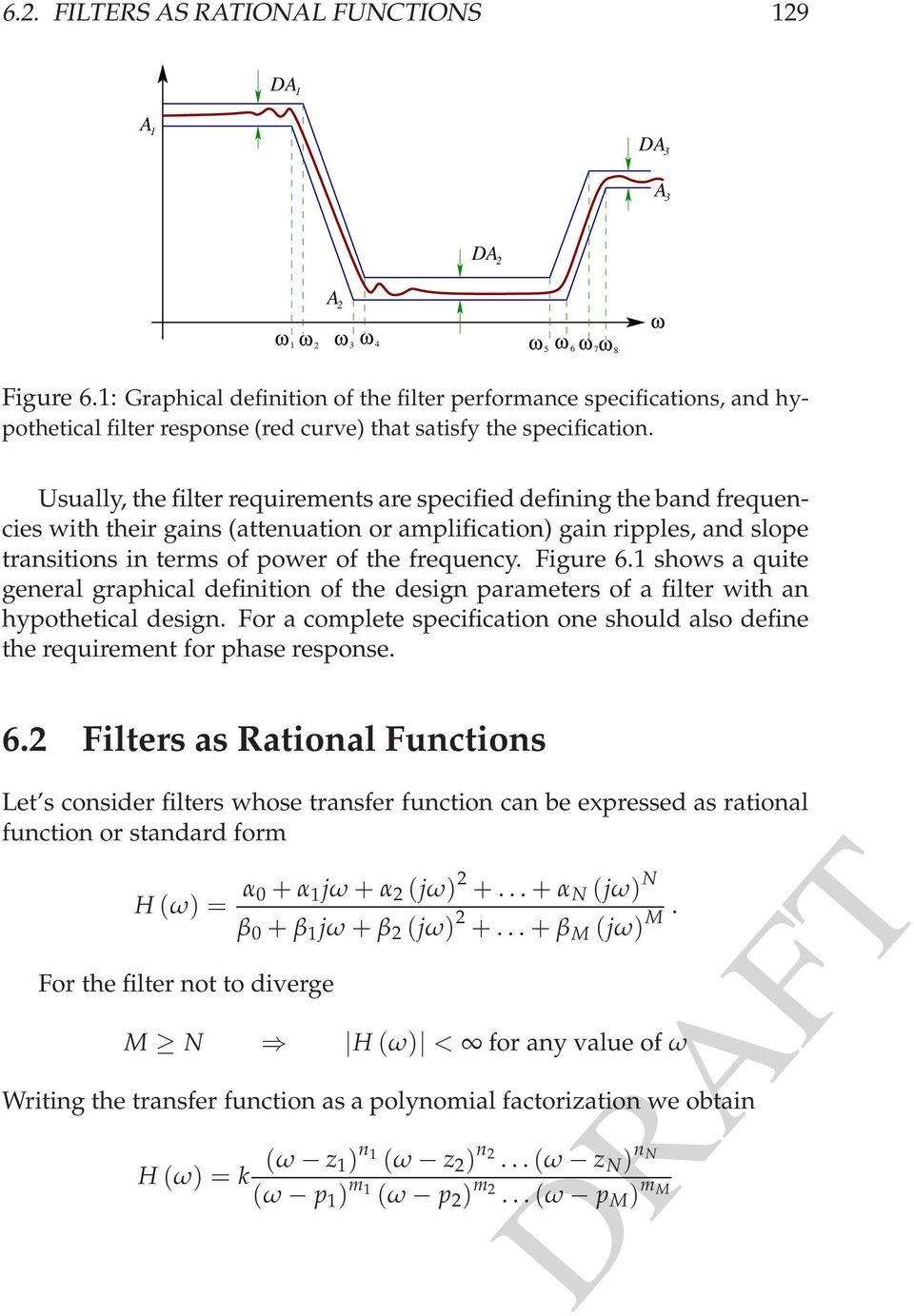 slope transitions in terms of power of the frequency Figure 61 shows a quite general graphical definition of the design parameters of a filter with an hypothetical design For a complete specification