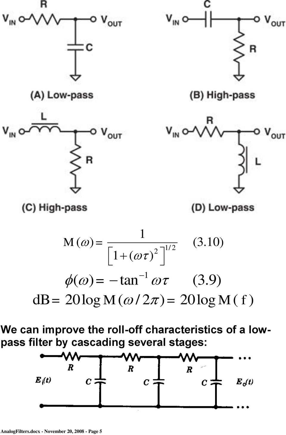 the roll-off characteristics of a lowpass filter by