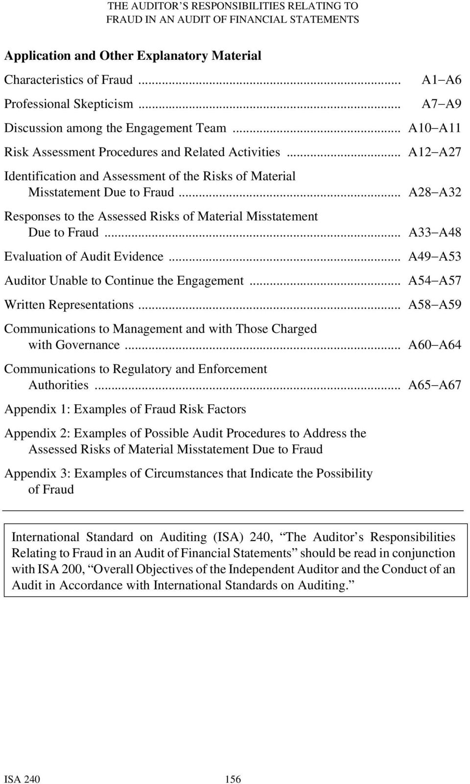 .. A28 A32 Responses to the Assessed Risks of Material Misstatement Due to Fraud... A33 A48 Evaluation of Audit Evidence... A49 A53 Auditor Unable to Continue the Engagement.