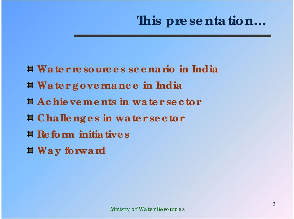 India Achievements in water sector