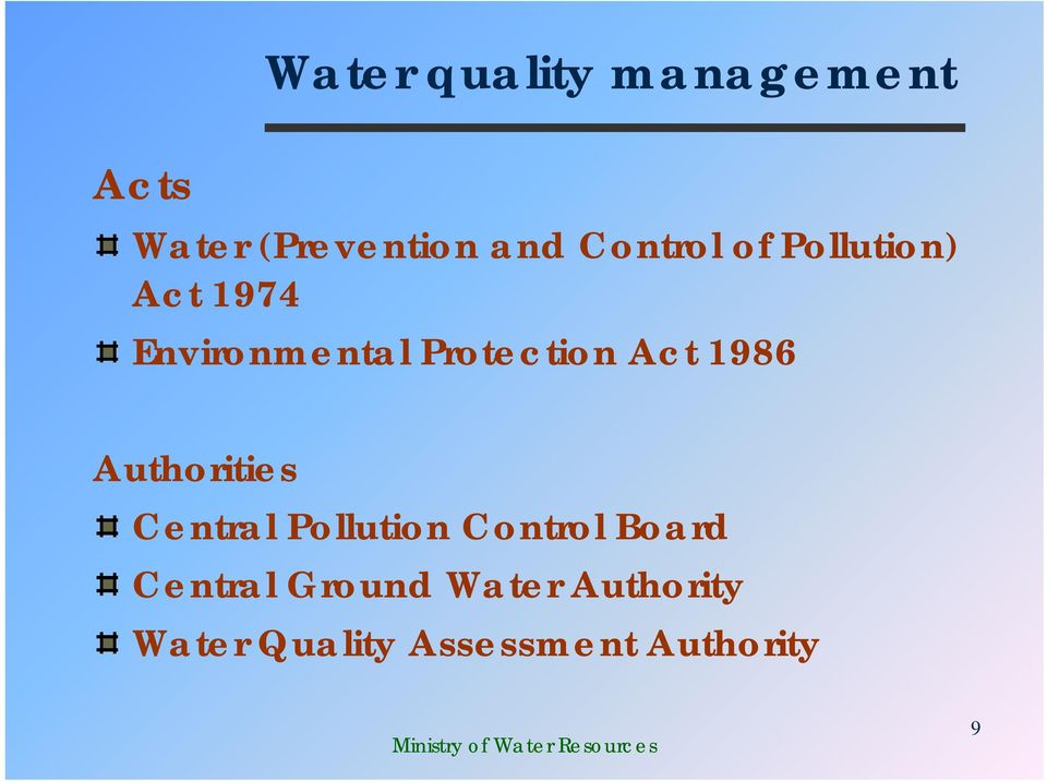 Act 1986 Authorities Central Pollution Control Board