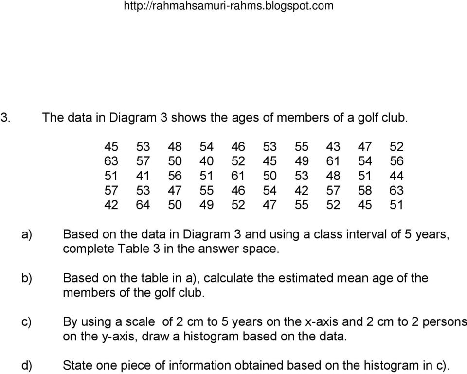 Based on the data in Diagram 3 and using a class interval of 5 years, complete Table 3 in the answer space.