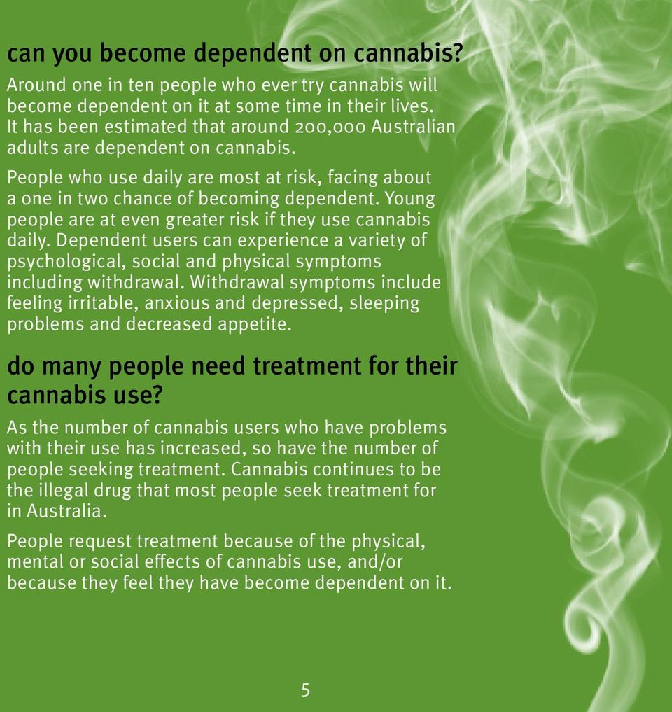 Young people are at even greater risk if they use cannabis daily. Dependent users can experience a variety of psychological, social and physical symptoms including withdrawal.