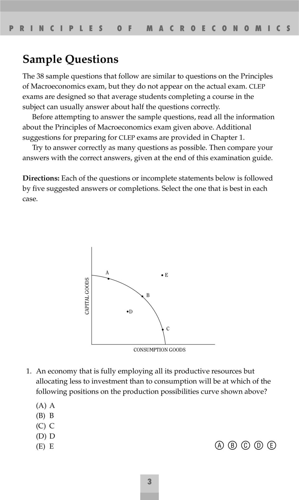 Before attempting to answer the sample questions, read all the information about the Principles of Macroeconomics exam given above.