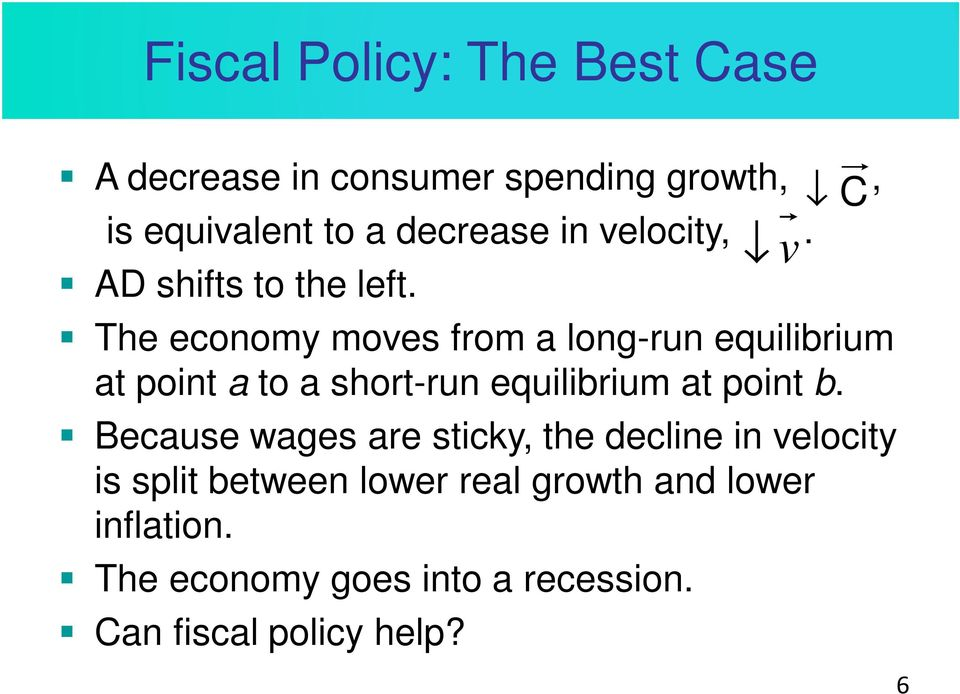The economy moves from a long-run equilibrium at point a to a short-run equilibrium at point b.