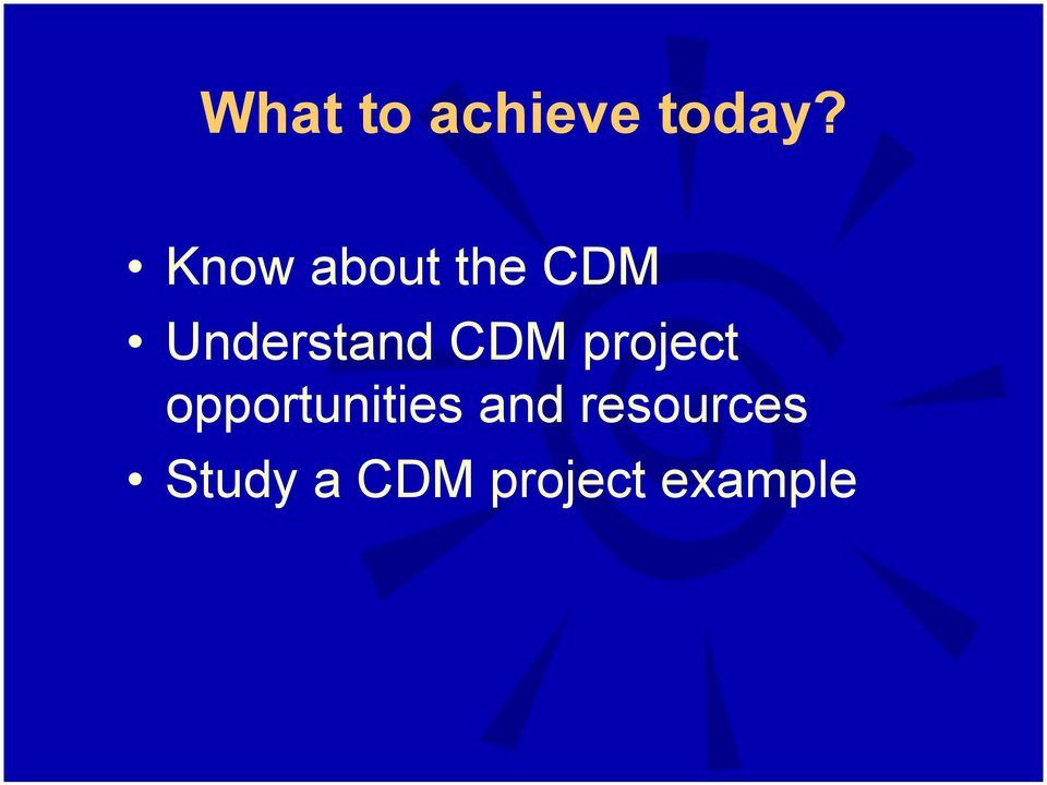 CDM project opportunities and