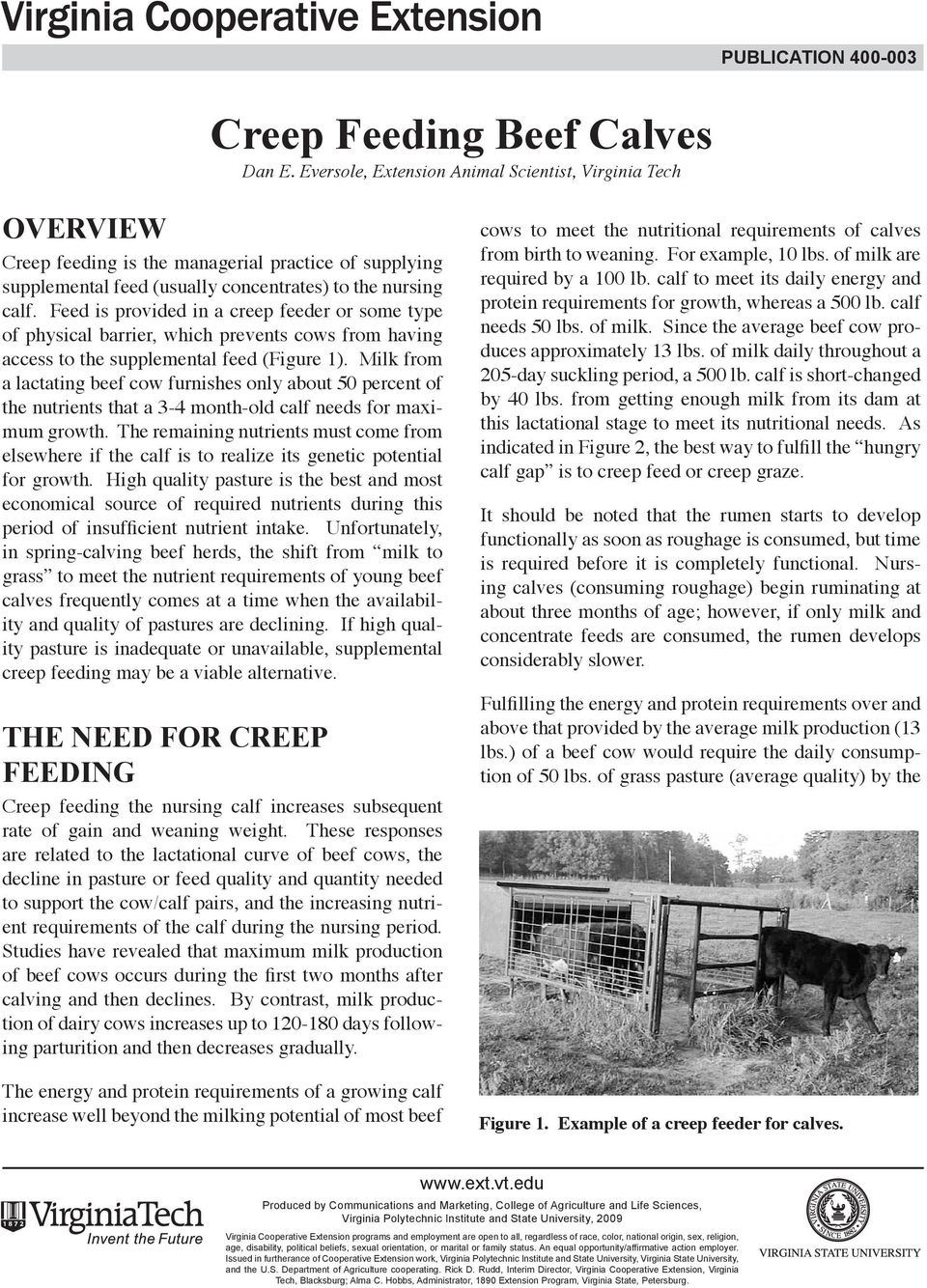 Feed is provided in a creep feeder or some type of physical barrier, which prevents cows from having access to the supplemental feed (Figure 1).