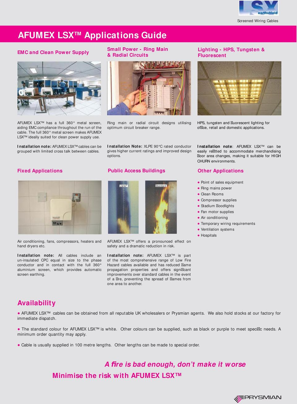 HPS, tungsten and uorescent lighting for of ce, retail and domestic applications. Installation note: AFUMEX LSX cables can be grouped with limited cross talk between cables.