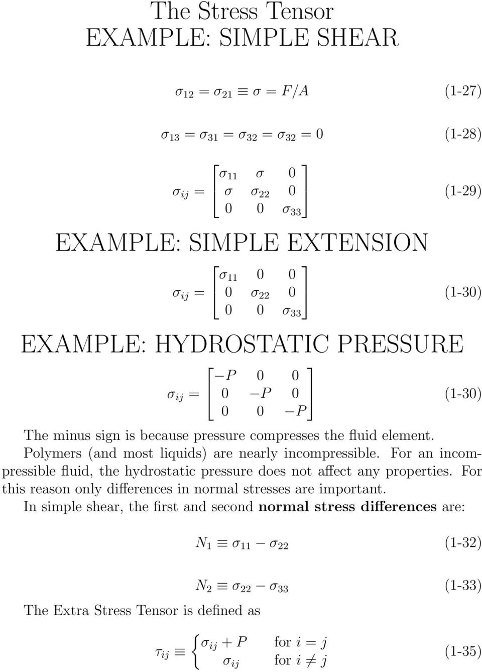 Polymers (and most liquids) are nearly incompressible. For an incompressible fluid, the hydrostatic pressure does not affect any properties.
