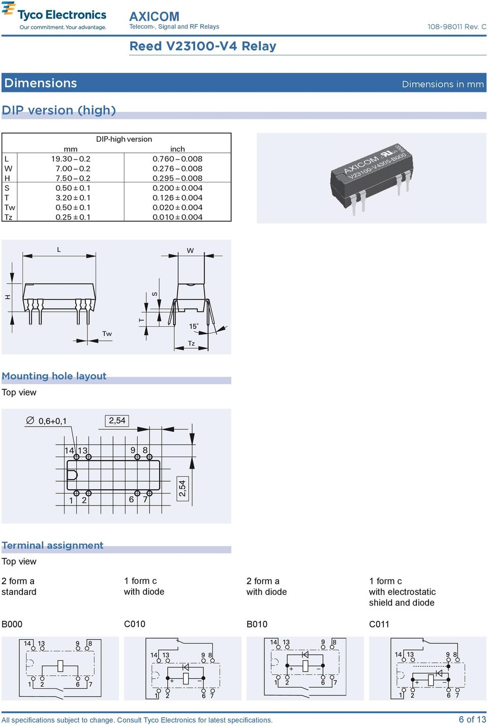 004 Mounting hole layout Terminal assignment 2 form a standard 1 form c with diode 2 form a with diode 1 form c with