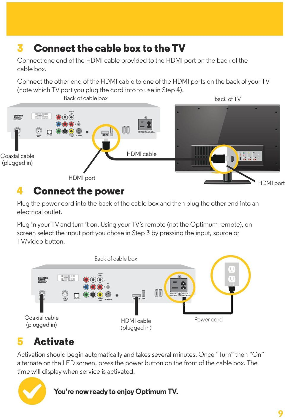 Back of TV 1394 1394 60Hz 40W 60Hz 400W HDMI cable 1394 1394 HDMI port 4 Connect the power Plug the power cord into the back of the cable box and then plug the other end into an electrical outlet.