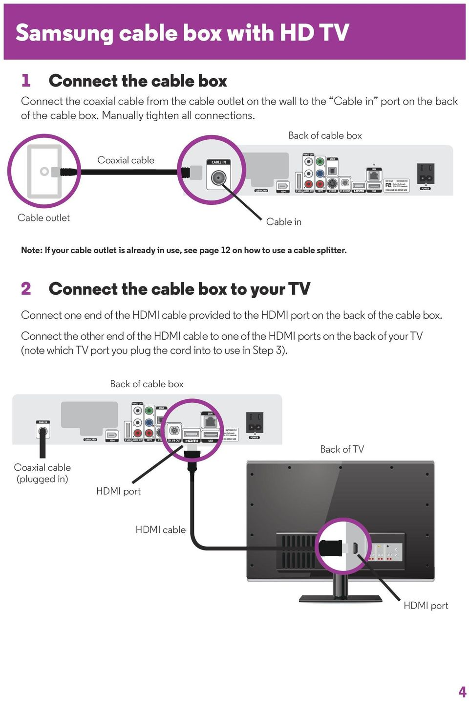 2 Connect the cable box to your TV Connect one end of the HDMI cable provided to the HDMI port on the back of the cable box.