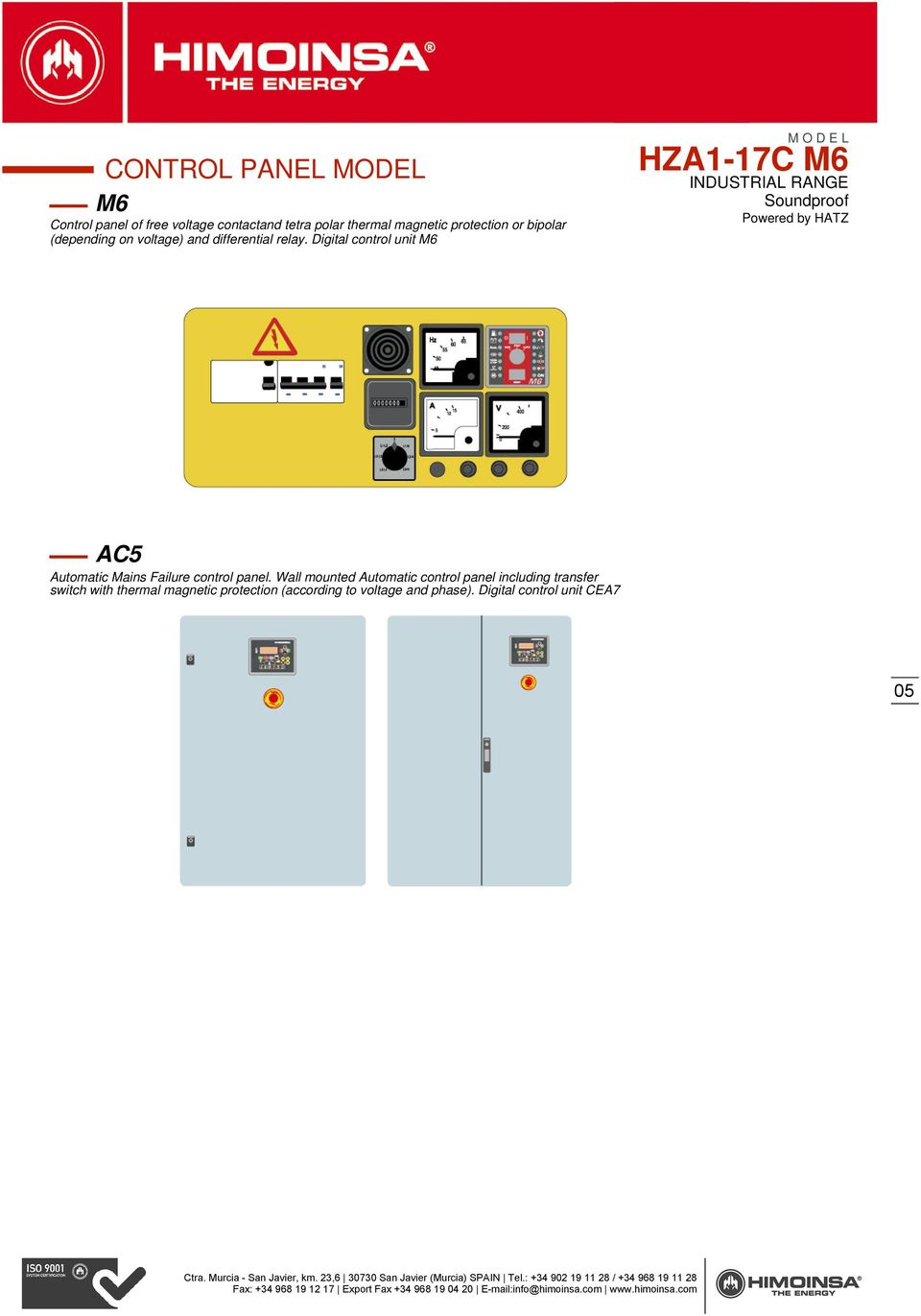 Digital control unit M6 AC5 Automatic Mains Failure control panel.