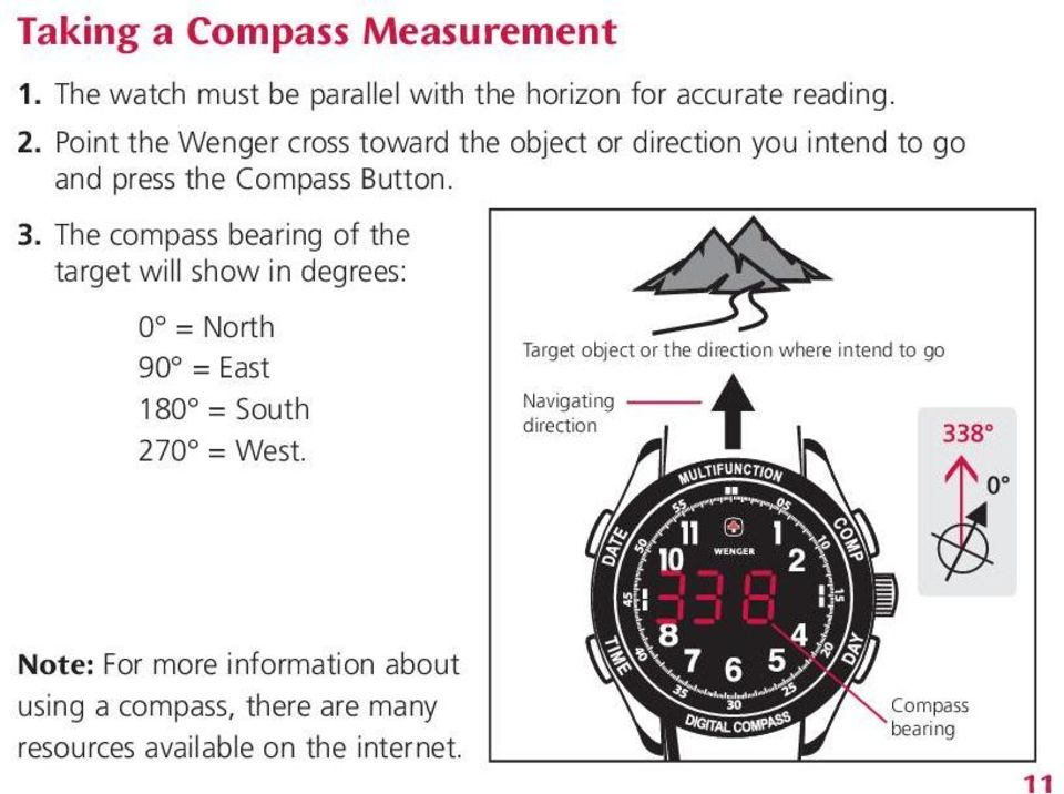 The compass bearing of the target will show in degrees: 0 = North Target object or the direction where intend to go 90 =