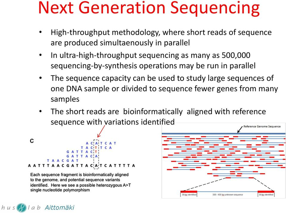 parallel The sequence capacity can be used to study large sequences of one DNA sample or divided to sequence fewer