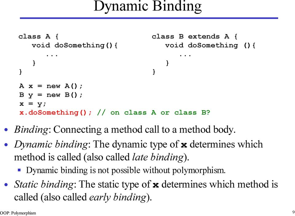 Binding: Connecting a method call to a method body.
