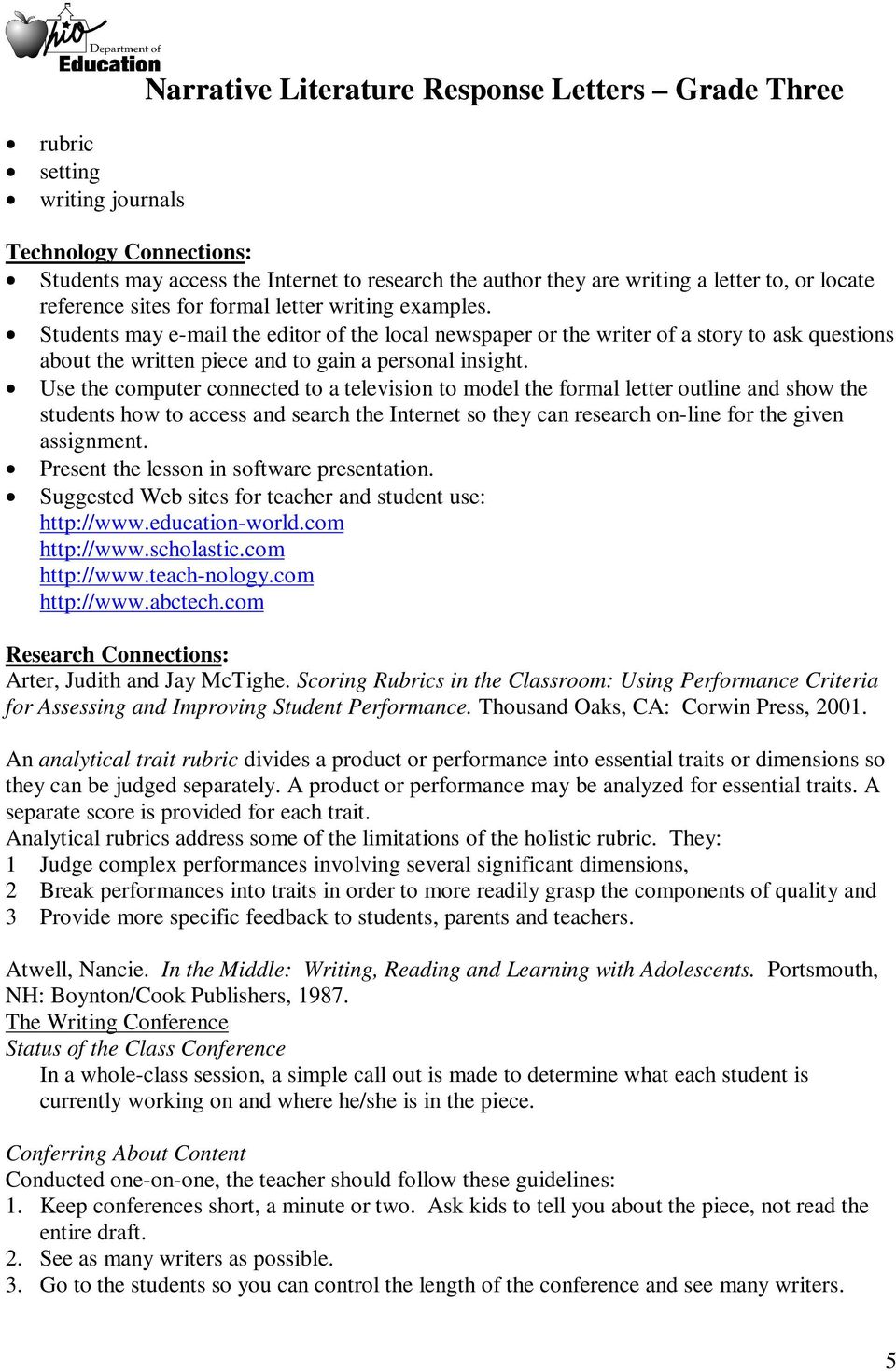 Narrative literature response letters grade three pdf students may e mail the editor of the local newspaper or the writer of a spiritdancerdesigns Choice Image