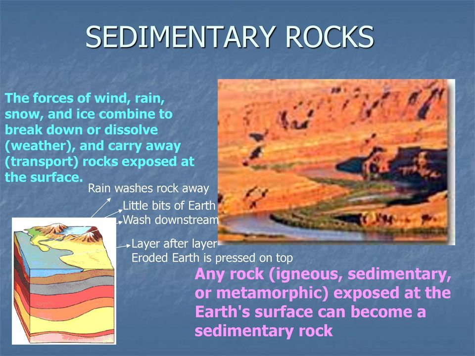 Rain washes rock away Little bits of Earth Wash downstream Layer after layer Eroded Earth is
