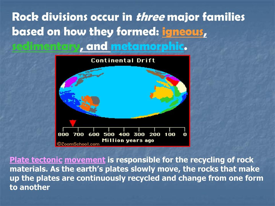 Plate tectonic movement is responsible for the recycling of rock materials.