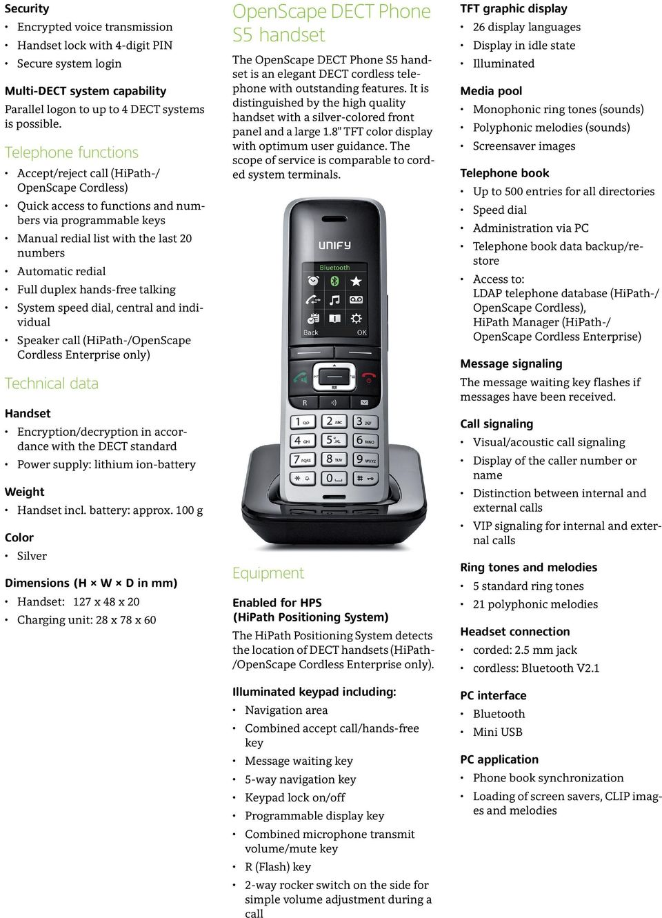 duplex hands-free talking System speed dial, central and individual Speaker call (HiPath-/OpenScape Cordless Enterprise only) Technical data Handset Encryption/decryption in accordance with the DECT