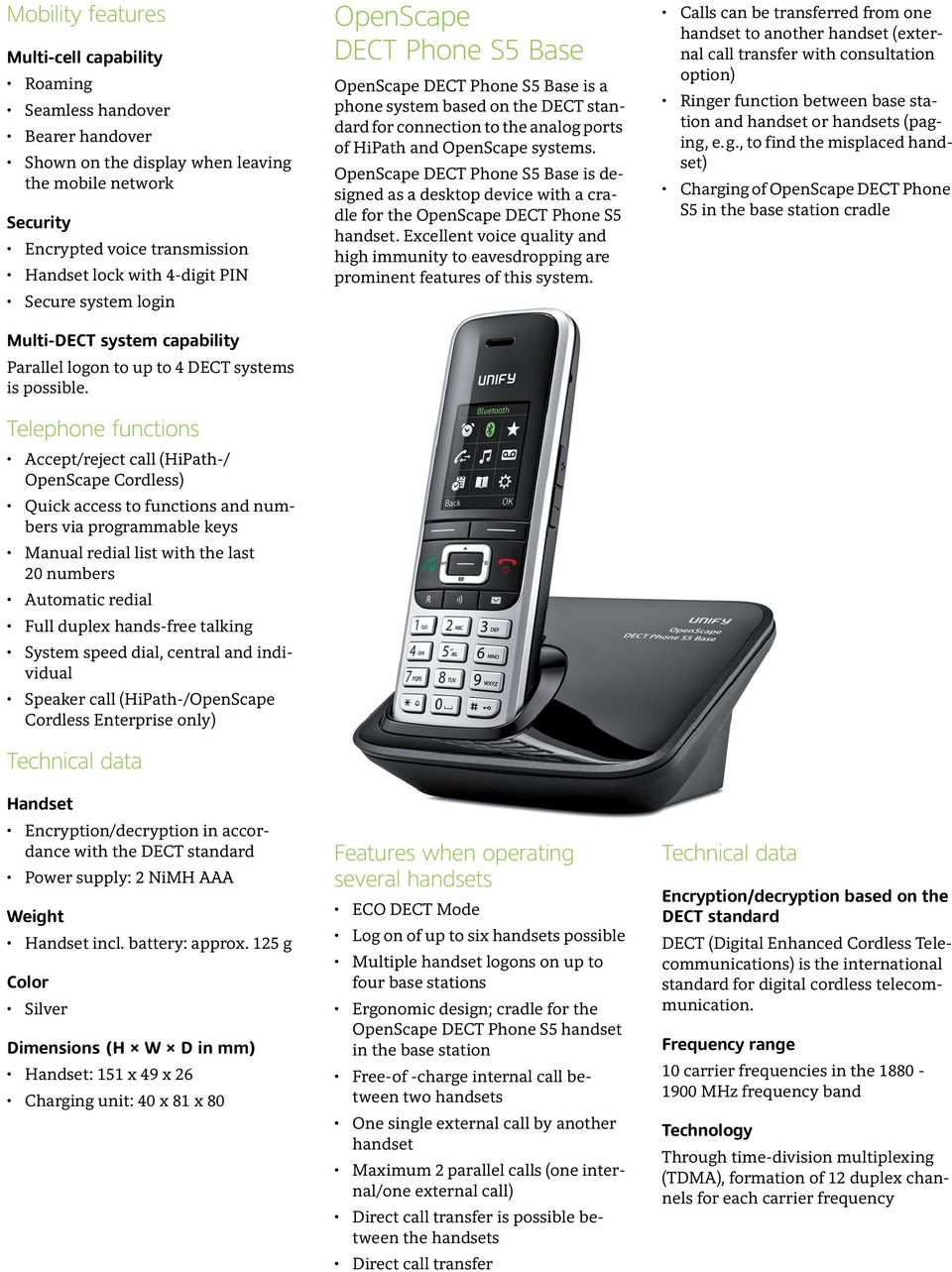 Telephone functions Accept/reject call (HiPath-/ OpenScape Cordless) Quick access to functions and numbers via programmable keys Manual redial list with the last 20 numbers Automatic redial Full