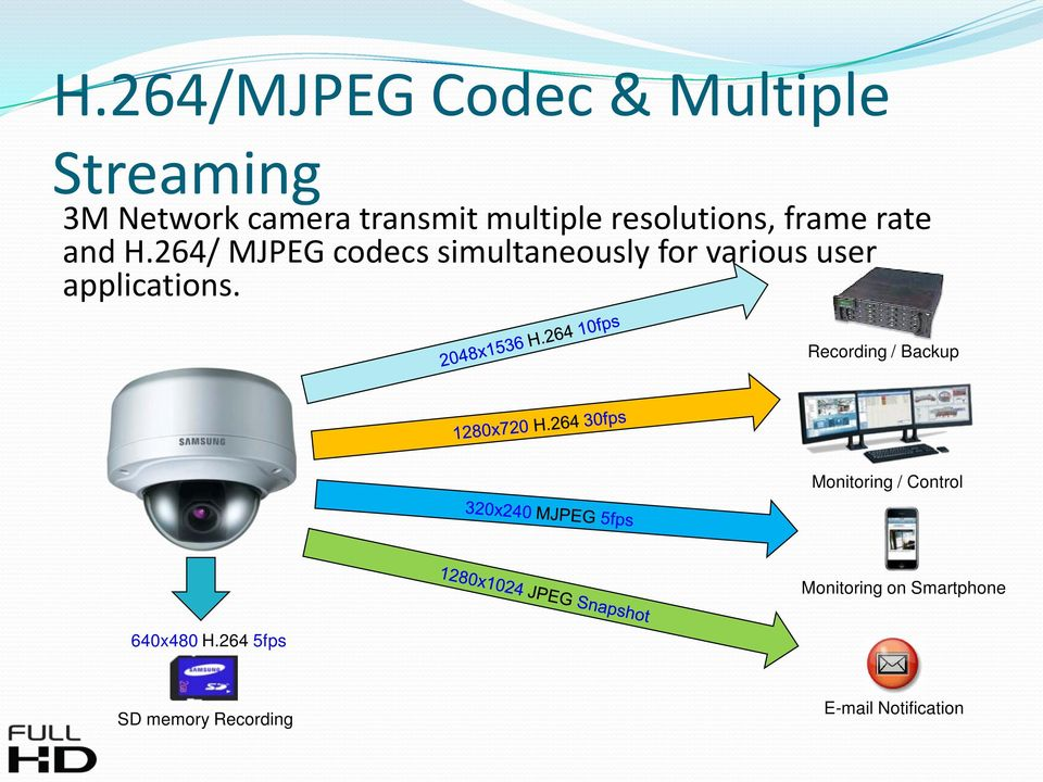 264/ MJPEG codecs simultaneously for various user applications.