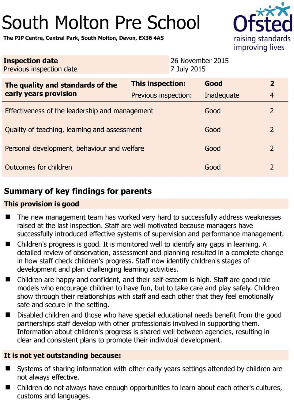 behaviour and welfare Good 2 Outcomes for children Good 2 Summary of key findings for parents This provision is good The new management team has worked very hard to successfully address weaknesses