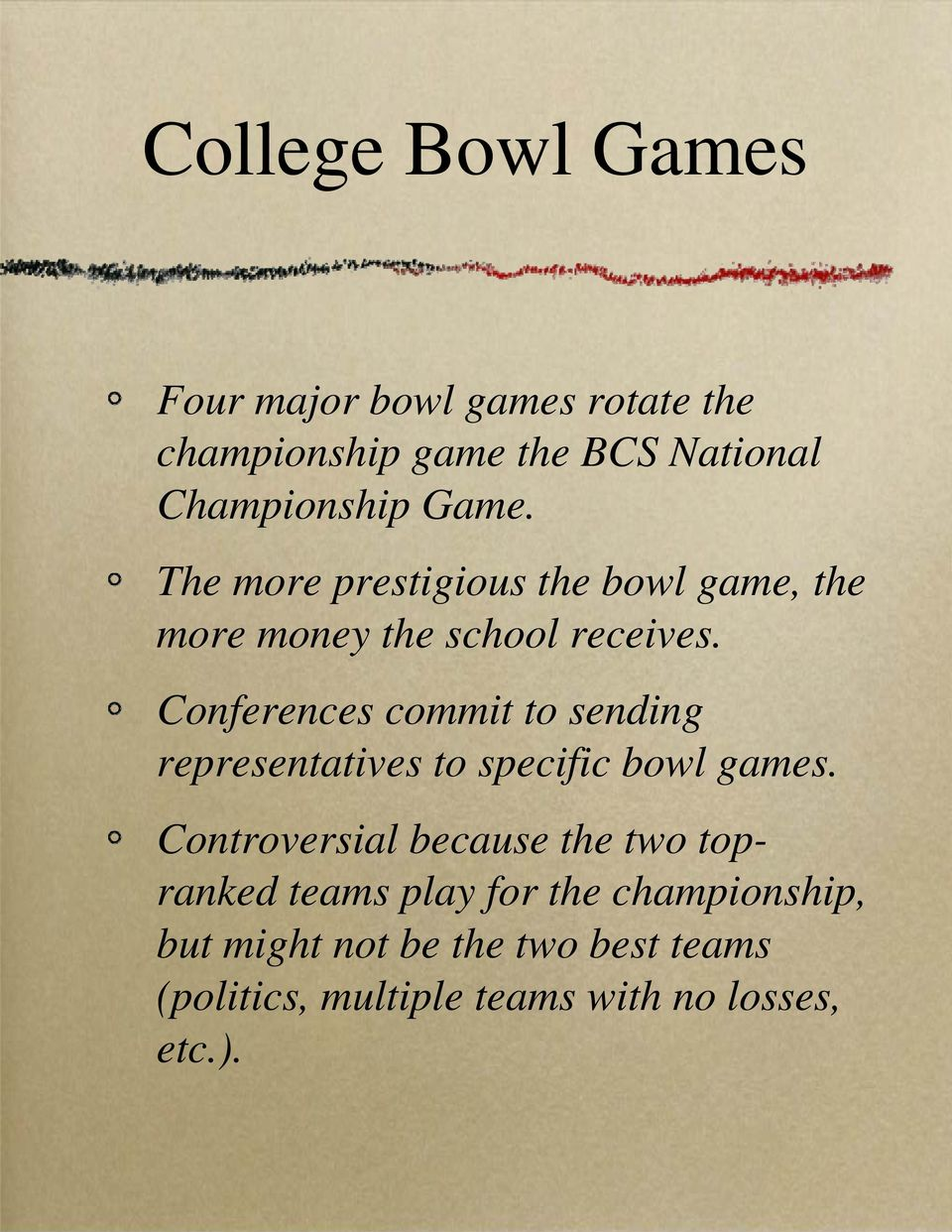 Conferences commit to sending representatives to specific bowl games.