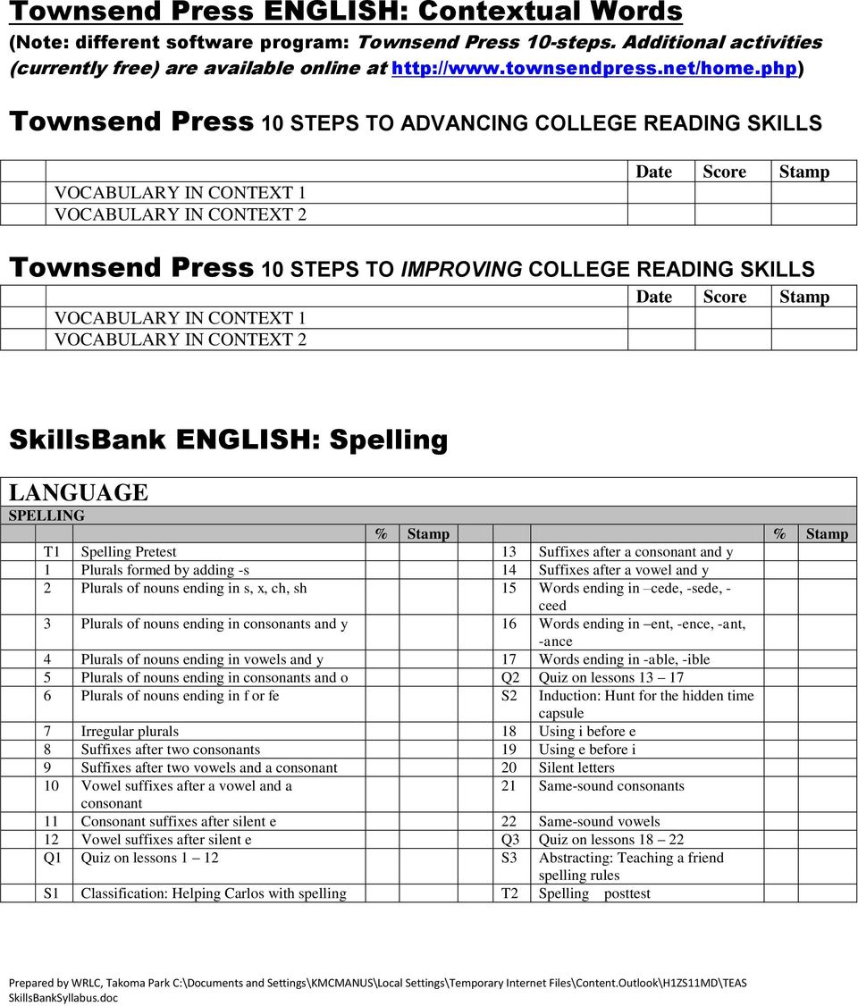 Score Stamp VOCABULARY IN CONTEXT 1 VOCABULARY IN CONTEXT 2 SkillsBank ENGLISH: Spelling LANGUAGE SPELLING T1 Spelling Pretest 13 Suffixes after a consonant and y 1 Plurals formed by adding -s 14