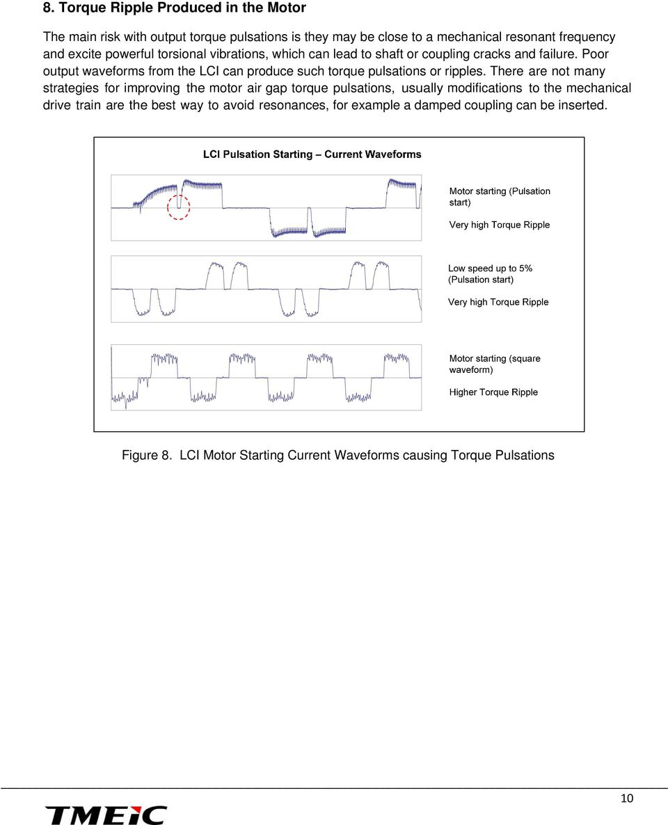 Poor output waveforms from the LCI can produce such torque pulsations or ripples.