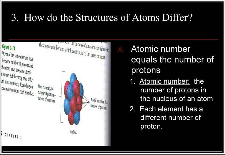 Atomic number equals the number of protons 1.