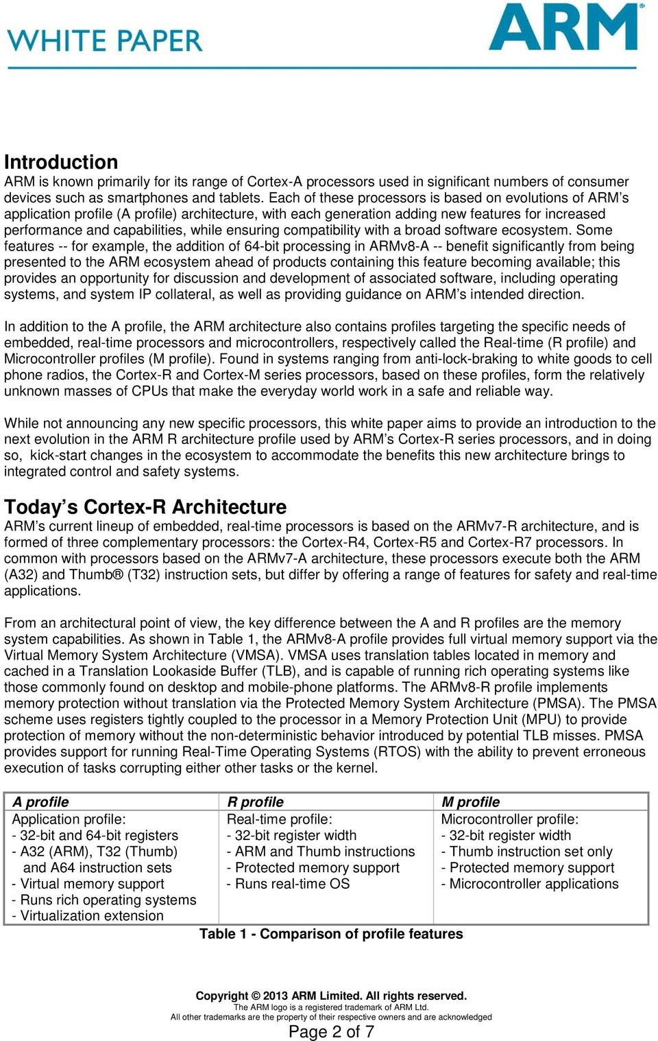 ARM Cortex-R Architecture - PDF