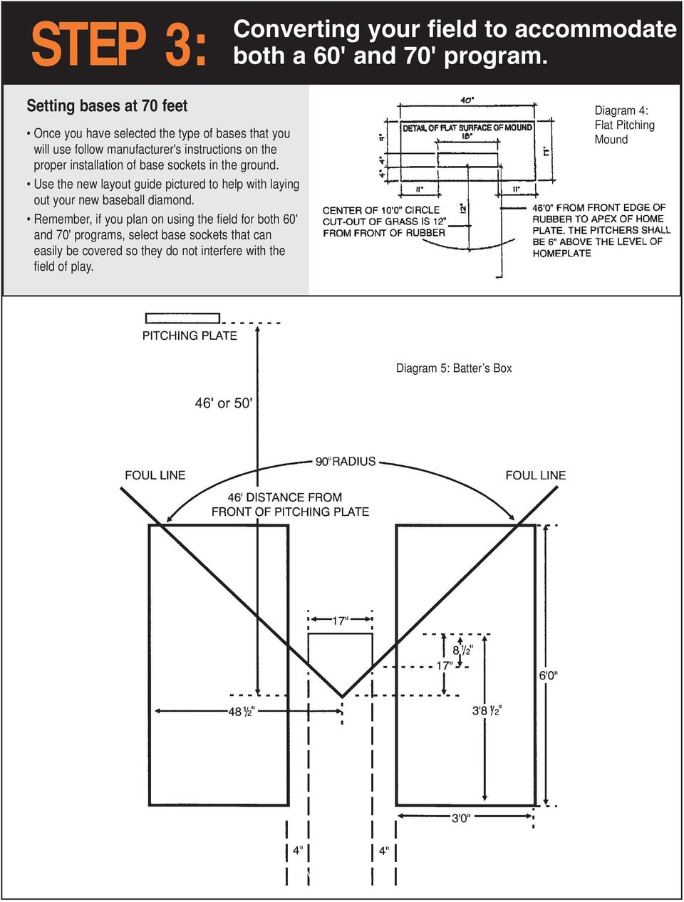 installation of base sockets in the ground. Use the new layout guide pictured to help with laying out your new baseball diamond.