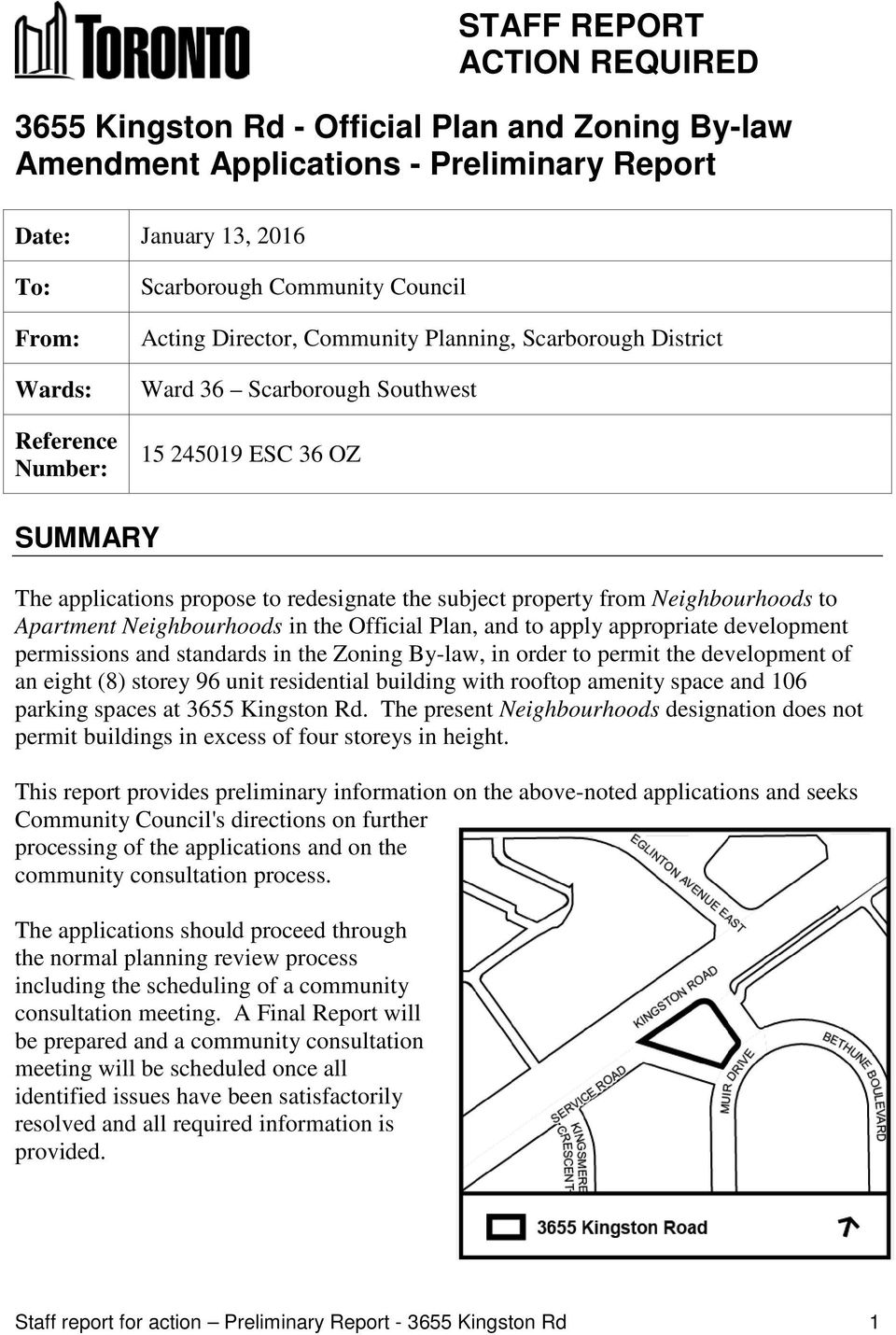 Neighbourhoods to Apartment Neighbourhoods in the Official Plan, and to apply appropriate development permissions and standards in the Zoning By-law, in order to permit the development of an eight