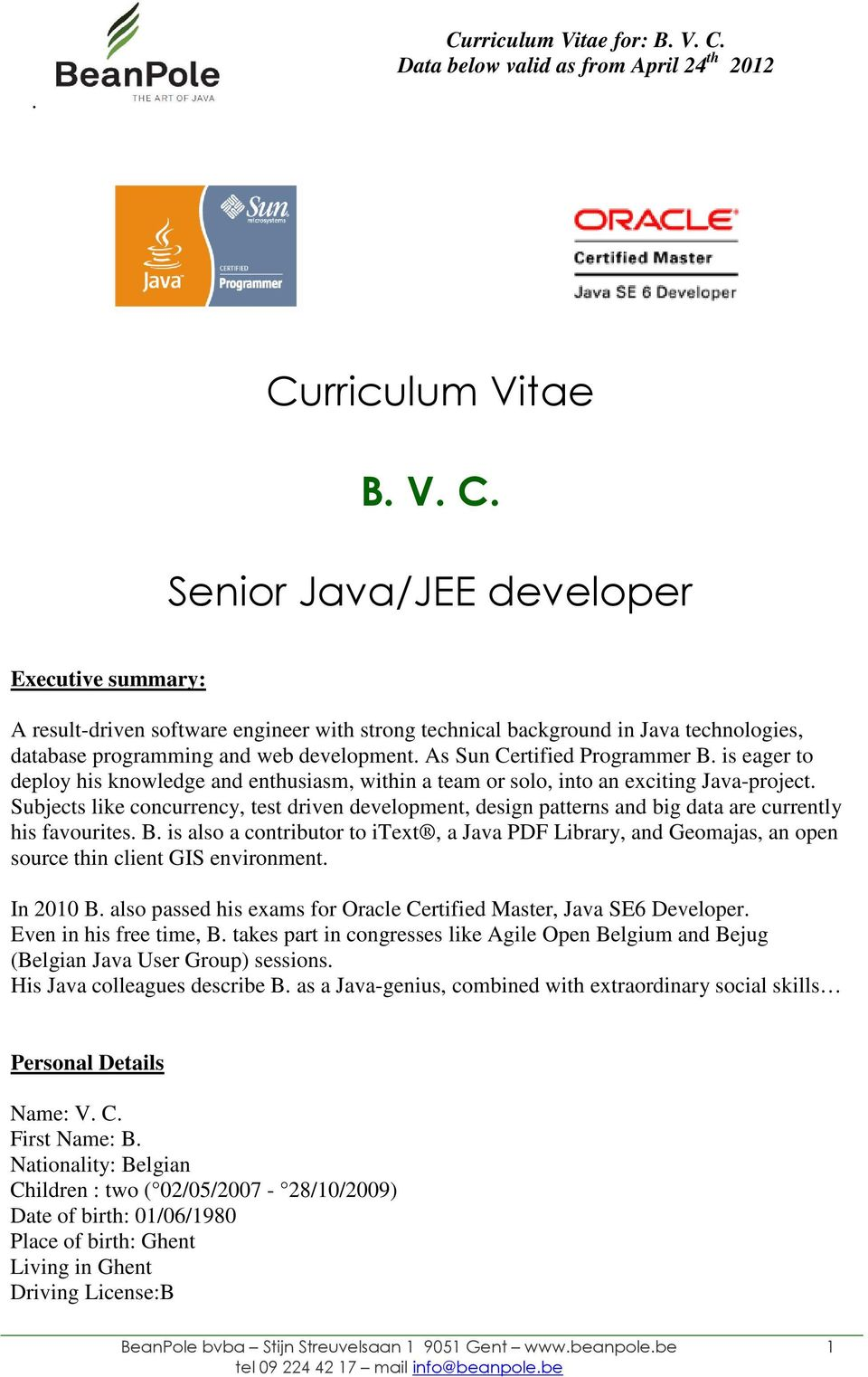 Curriculum Vitae B  V  C  Senior Java/JEE developer - PDF