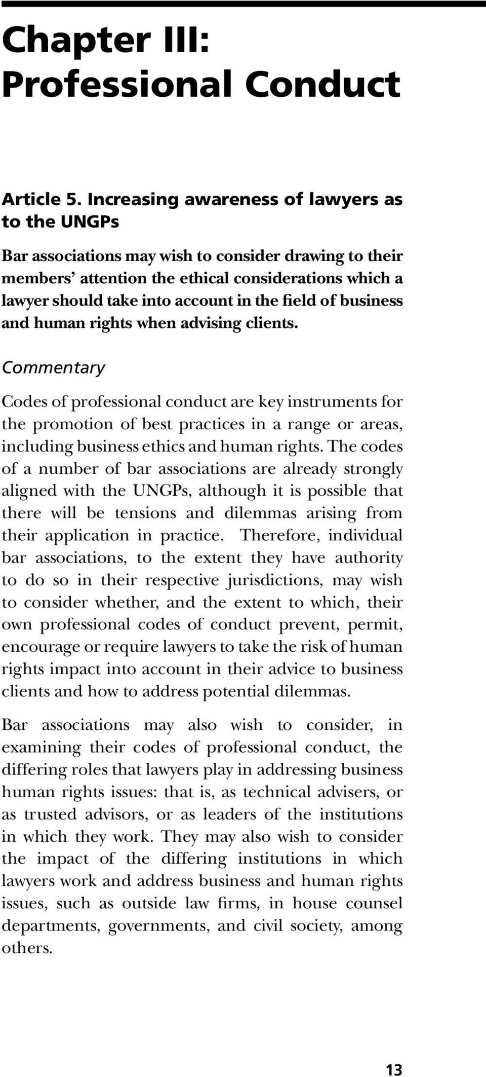 field of business and human rights when advising clients.