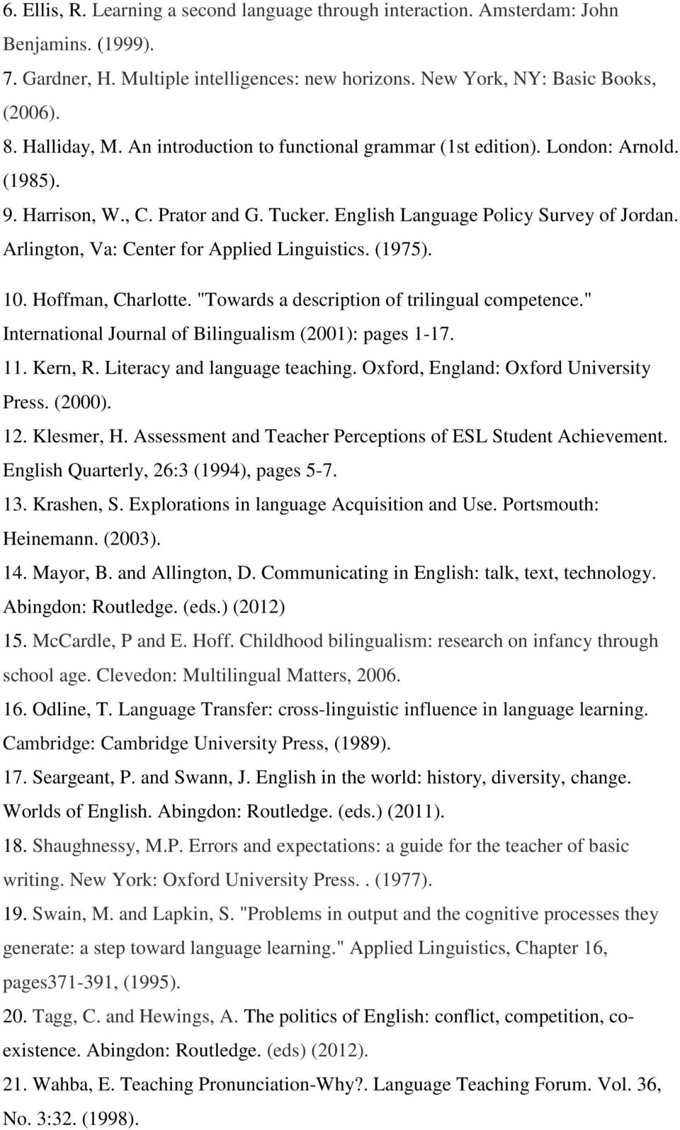 "Arlington, Va: Center for Applied Linguistics. (1975). 10. Hoffman, Charlotte. ""Towards a description of trilingual competence."" International Journal of Bilingualism (2001): pages 1-17. 11. Kern, R."