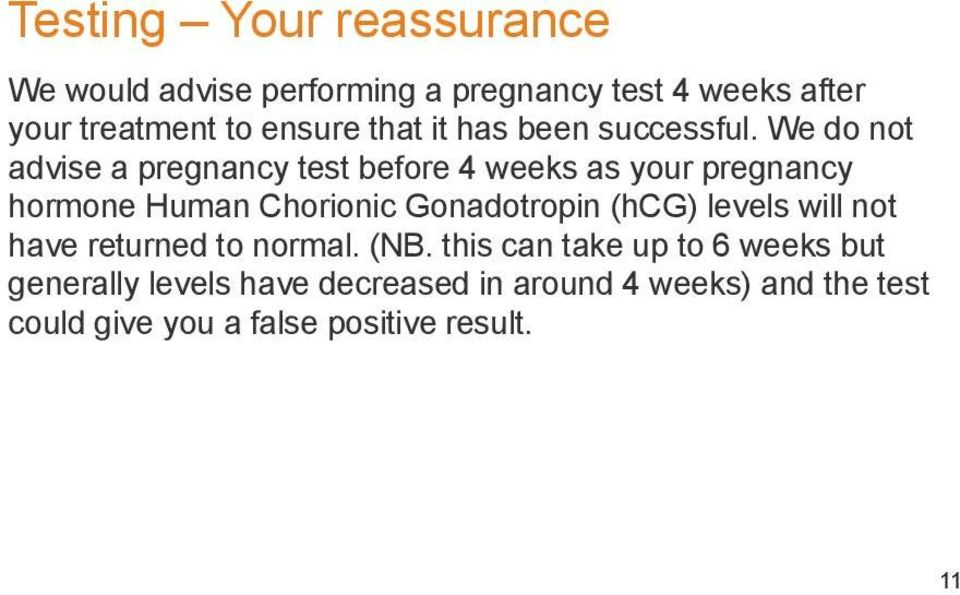 We do not advise a pregnancy test before 4 weeks as your pregnancy hormone Human Chorionic Gonadotropin