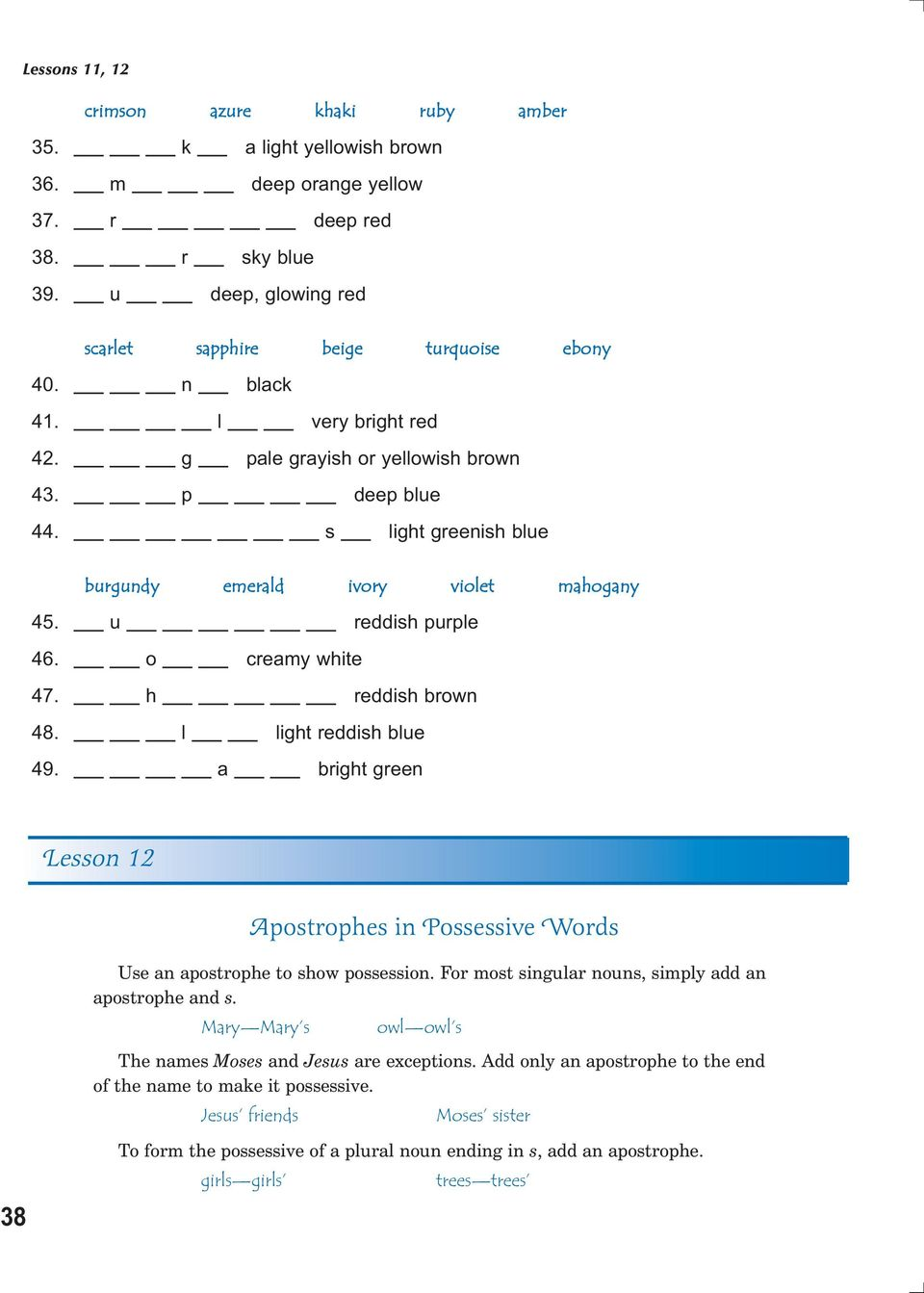 Preposition review put parentheses around the prepositional phrases h reddish brown 48 l light reddish blue 49 a bright green lesson 12 fandeluxe Choice Image