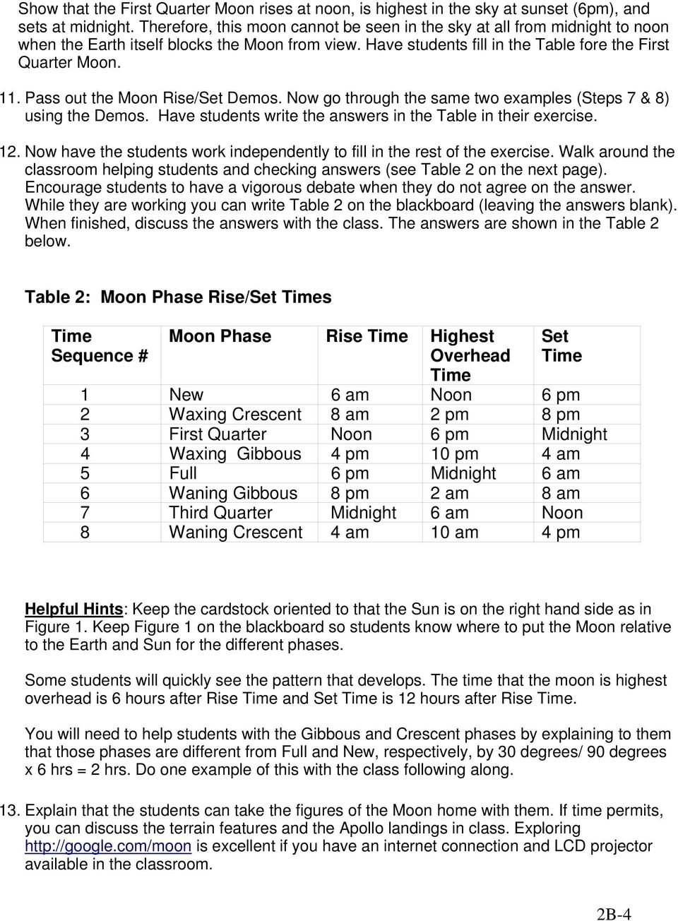 Pass out the Moon Rise/Set Demos. Now go through the same two examples (Steps 7 & 8) using the Demos. Have students write the answers in the Table in their exercise. 12.