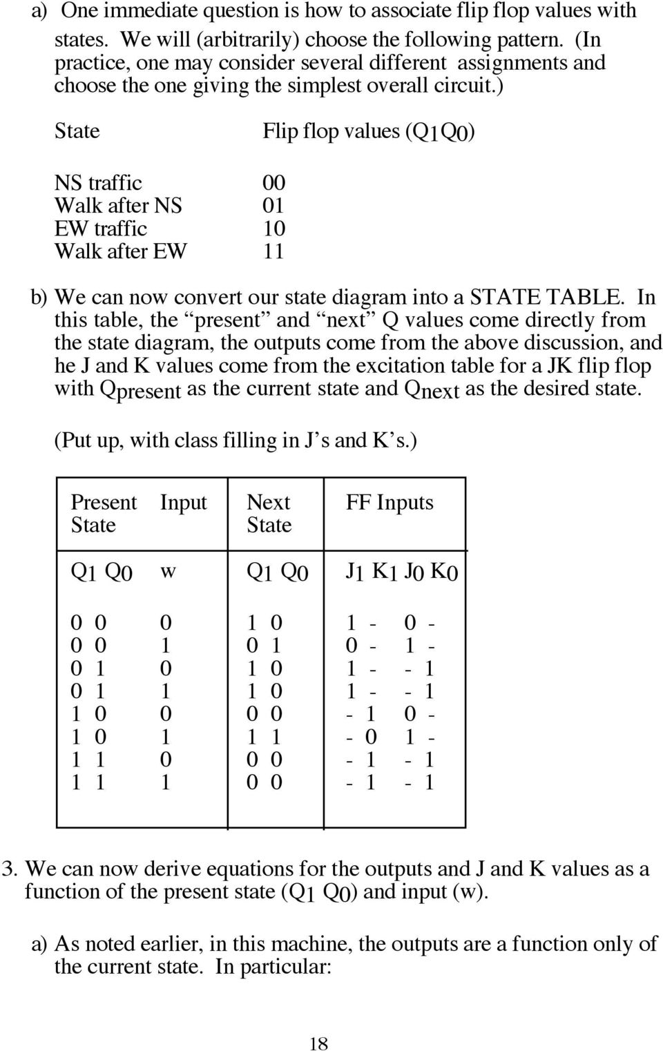 ) State Flip flop values (Q1Q0) NS traffic 00 Walk after NS 01 EW traffic 10 Walk after EW 11 b) We can now convert our state diagram into a STATE TABLE.