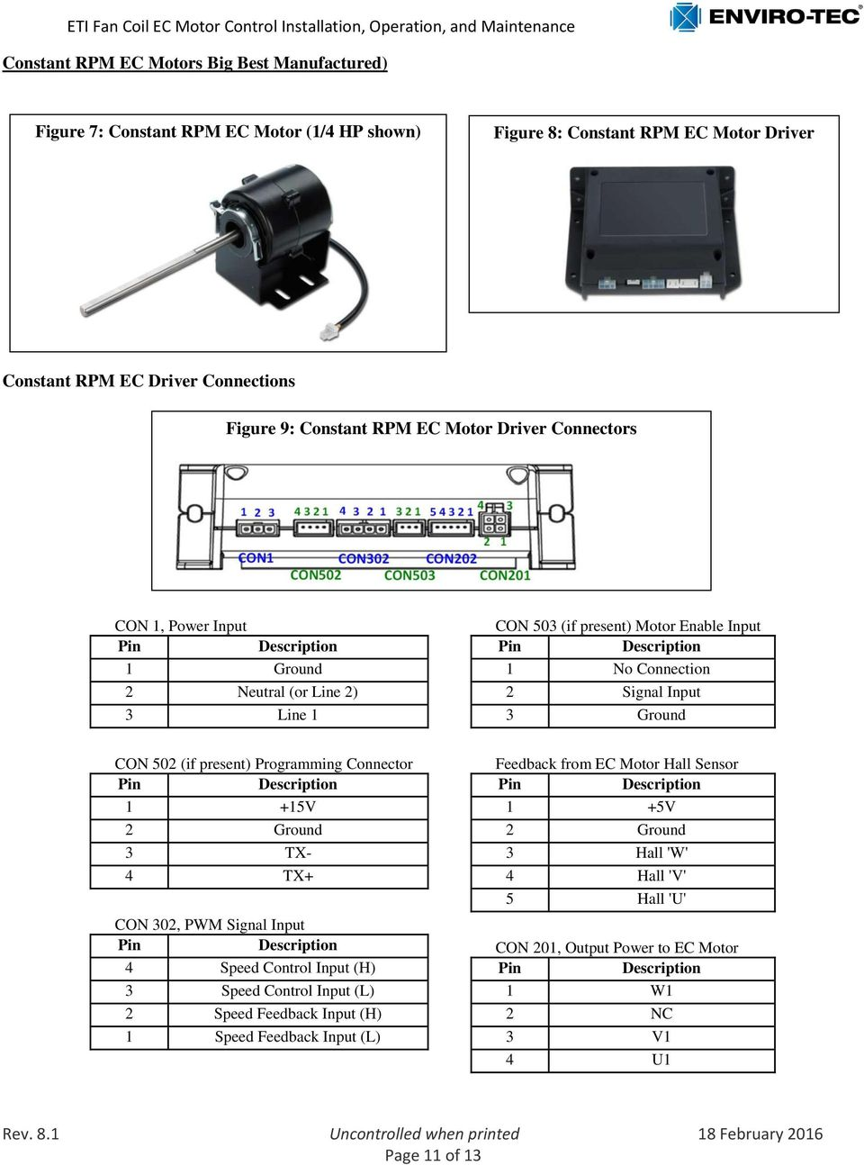 (if present) ming Connector Feedback from EC Motor Hall Sensor Pin Description Pin Description 1 +15V 1 +5V 2 Ground 2 Ground 3 TX- 3 Hall 'W' 4 TX+ 4 Hall 'V' 5 Hall 'U' C 302, PWM Signal Input