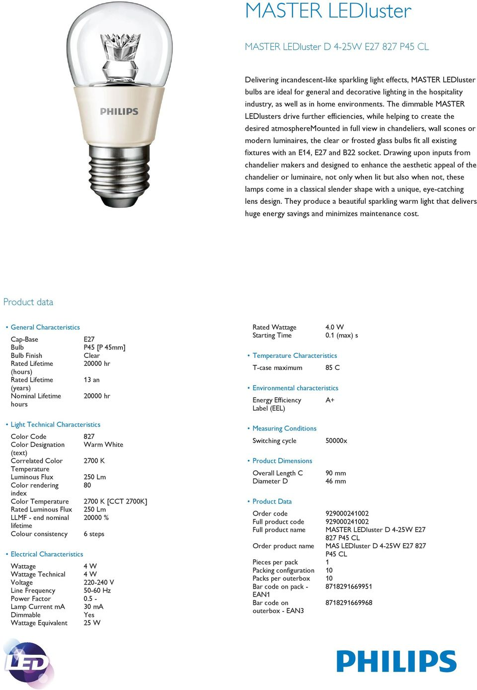 The dimmable MASTER LEDlusters drive further efficiencies, while helping to create the desired atmospheremounted in full view in chandeliers, wall scones or modern luminaires, the clear or frosted