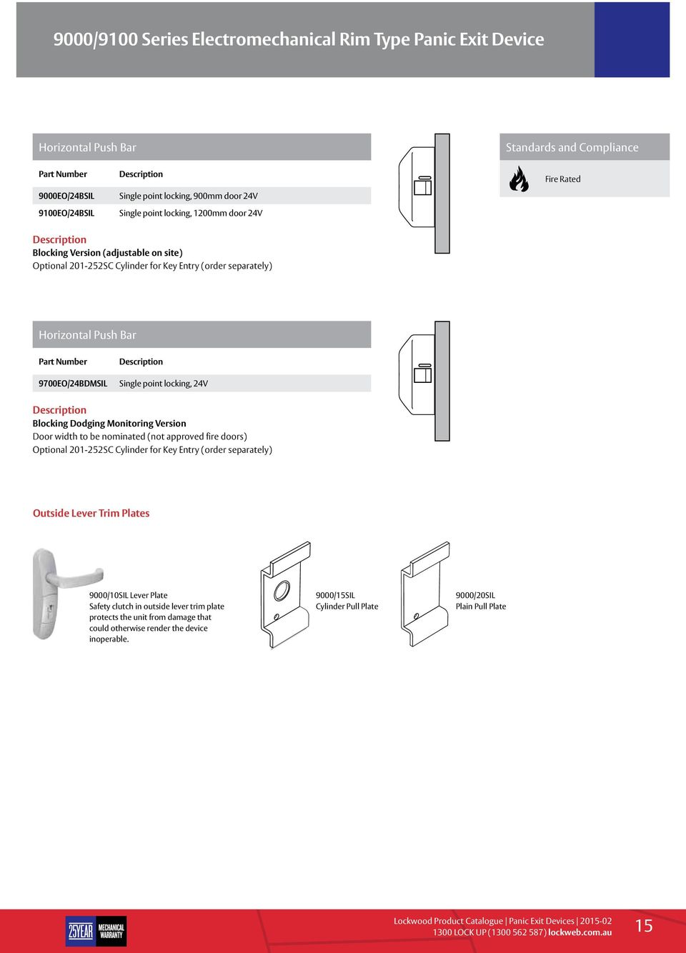 locking, 24V Blocking Dodging Monitoring Version Door width to be nominated (not approved fire doors) Optional 201-252SC Cylinder for Key Entry (order separately) Outside Lever Trim Plates