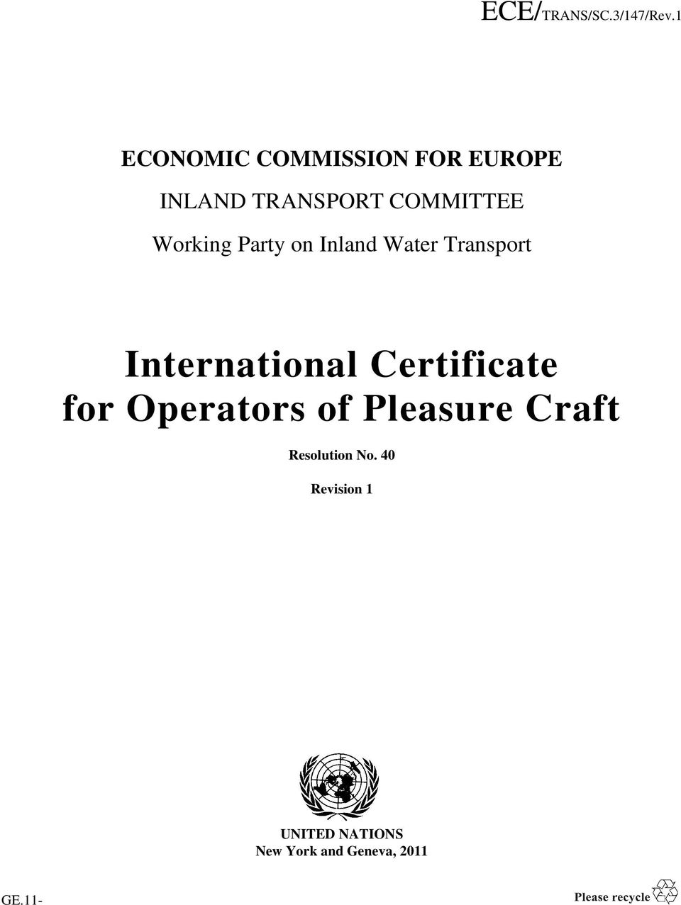 Certificate for Operators of Pleasure Craft Resolution.
