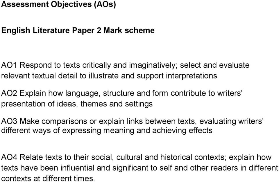 AO3 Make comparisons or explain links between texts, evaluating writers different ways of expressing meaning and achieving effects AO4 Relate texts to their