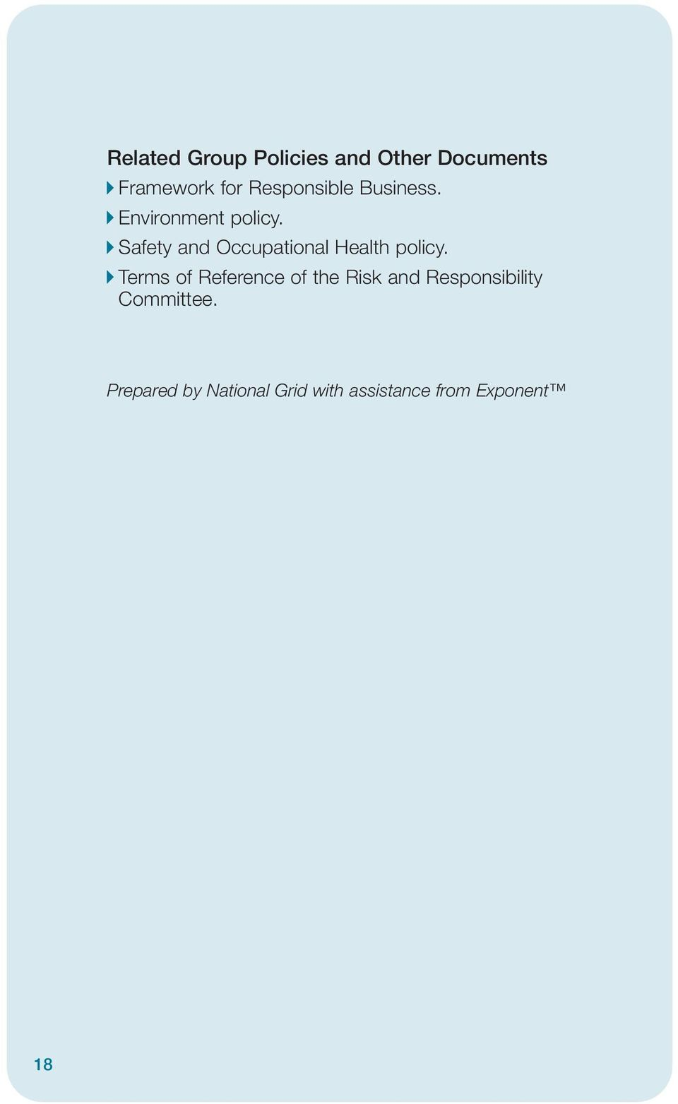 Safety and Occupational Health policy.