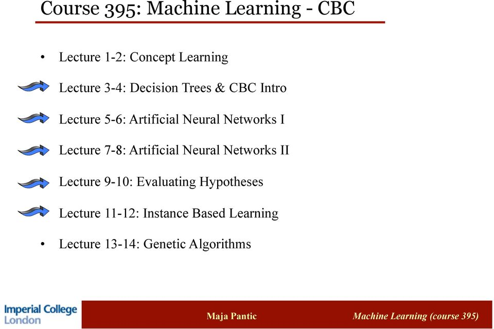 Lecture 7-8: Artificial Neural Networks II Lecture 9-10: Evaluating