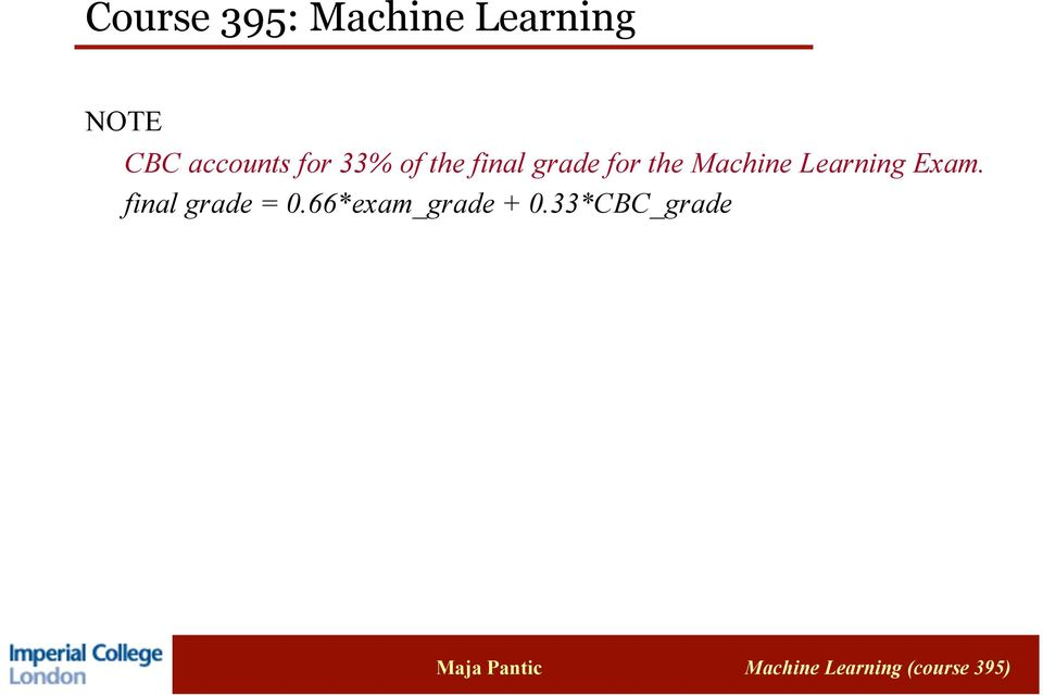 for the Machine Learning Exam.