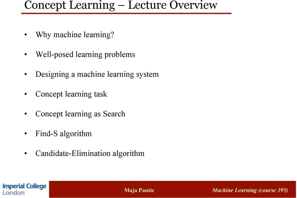learning system Concept learning task Concept learning
